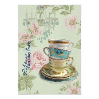 elegant chandelier tea cup  vintage birthday party 3.5x5 paper invitation card