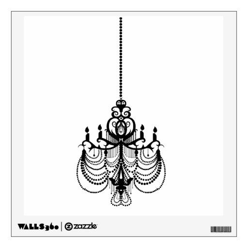 elegant chandelier vintage decorative wall decal 2 zazzle