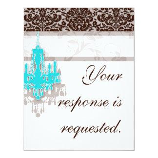 Elegant Chandelier Wedding Reply Card BB damask