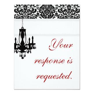 Elegant Chandelier Wedding Reply Card BW damask