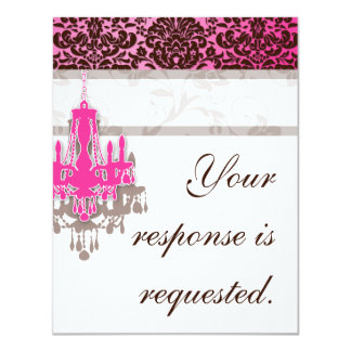 Elegant Chandelier Wedding Reply Card PB damask