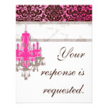 Elegant Chandelier Wedding Reply Card PB damask Personalized Announcement