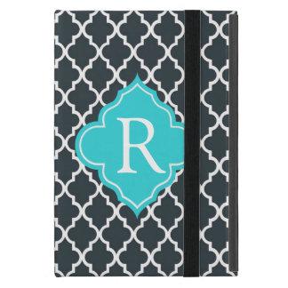 Elegant charcoal, aqua  blue quatrefoil monogram cases for iPad mini