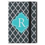 Elegant charcoal, aqua  blue quatrefoil monogram iPad mini case