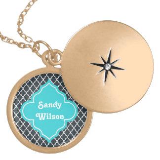 Elegant charcoal, aqua  blue quatrefoil monogram locket necklace