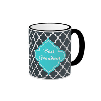 Elegant charcoal, aqua  blue quatrefoil monogram ringer coffee mug
