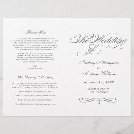 Elegant Charcoal Gray Calligraphy Wedding Ceremony