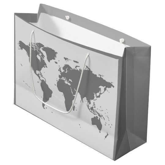 World Map Gift Bags.Elegant Charcoal Gray World Map Silhouette Large Gift Bag Zazzle Com