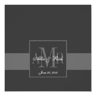 Elegant Charcoal Grey Monogram Wedding Invitation