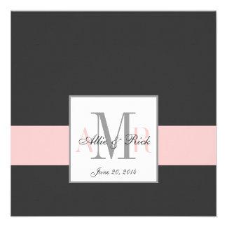 Elegant Charcoal Pink Monogram Wedding Invitation