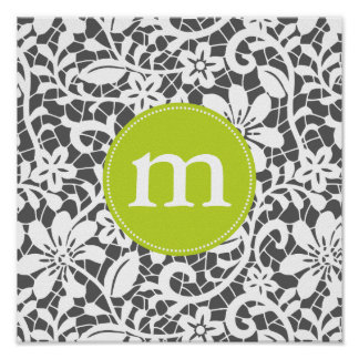Elegant Charcoal Retro Lace Personalized Monogram Poster
