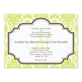 Elegant Chartreuse Damask Wedding Invitations