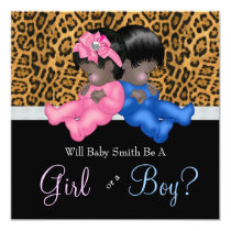 Elegant Cheetah Baby Gender Reveal Shower Invitation
