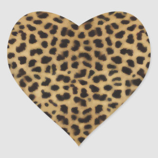 Elegant Cheetah Fur Pattern Heart Sticker