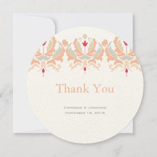 Elegant Cherry and Peach Damask Wedding Thank You