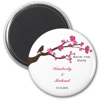 Elegant cherry blossom and bird save the date magnets