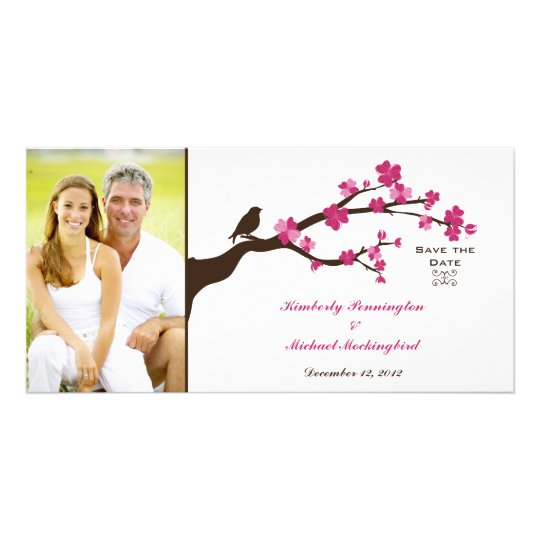 Elegant cherry blossom bird save the date photo card