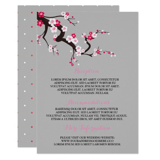 Elegant Cherry Blossom Pink Floral Information Invitation