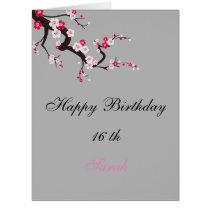 Elegant Cherry Blossom Pink White floral Birthday