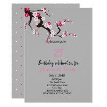Elegant Cherry Blossom Pink White floral Birthday Invitation