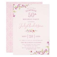 Elegant Cherry Blossom | Surprise Birthday Party Card