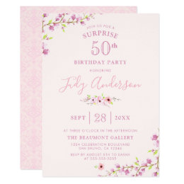 Elegant Cherry Blossom | Surprise Birthday Party Card