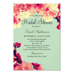 Elegant Cherry Blossoms on Rustic Teal 3.5x5 Paper Invitation Card