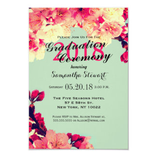Elegant Cherry Blossoms on Rustic Teal Card