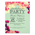 Elegant Cherry Blossoms on Rustic Teal 4.25x5.5 Paper Invitation Card