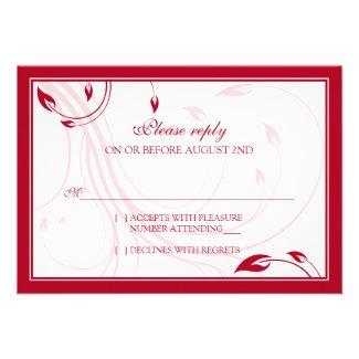 Elegant Cherry Red White Wedding RSVP Reply Card
