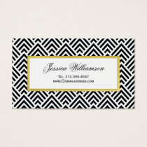 Elegant Chevron Black, White and Gold Business Card