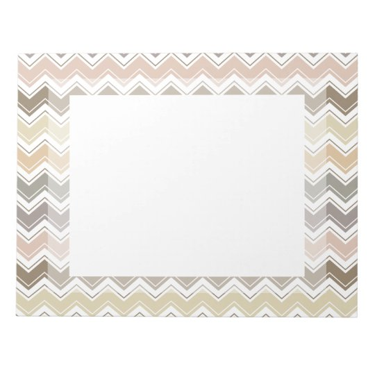 Elegant Chevron Designer's Earth Tone Pattern Notepad
