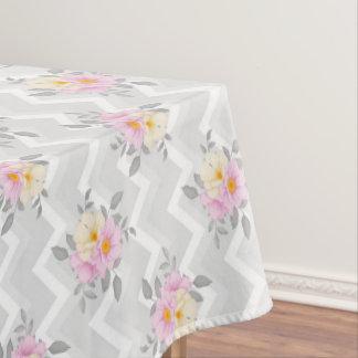 Elegant Chevron Floral Wedding Pattern Tablecloth