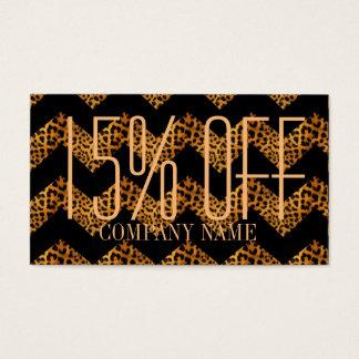 elegant  chevron geometric pattern leopard print business card