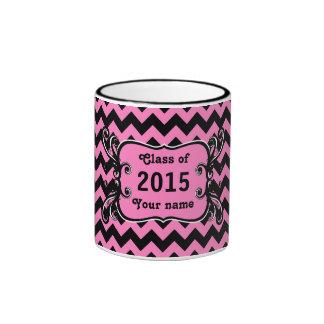 Elegant chevron graduation black and pink mug
