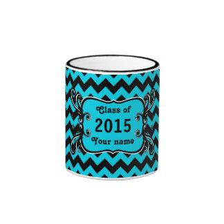 Elegant chevron graduation black and turquoise mugs