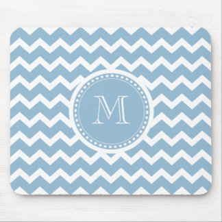 Elegant Chevron Light Aqua Green Monogram Mouse Pad