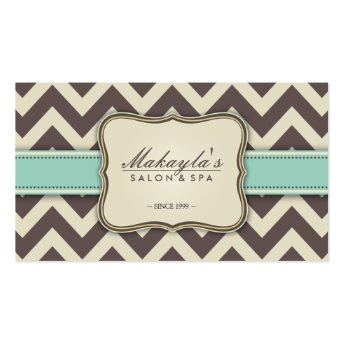 Elegant Chevron Modern Brown, Green and Beige Business Card Template