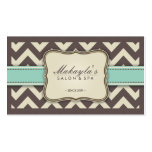 Elegant Chevron Modern Brown, Green and Beige Business Cards