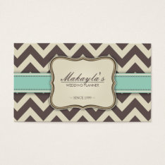 Elegant Chevron Modern Brown, Green And Beige Business Card at Zazzle
