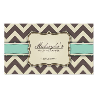 Elegant Chevron Modern Brown, Green and Beige Double-Sided Standard Business Cards (Pack Of 100)