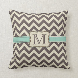 Elegant Chevron Modern Brown, Green and Beige Throw Pillow