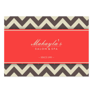 Elegant Chevron Modern Brown, Green and Coral Large Business Cards (Pack Of 100)