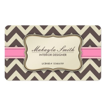 Elegant Chevron Modern Brown, Pink and Beige Pack Of Standard Business Cards