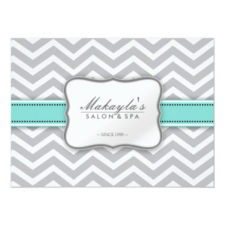 Elegant Chevron Modern Gray, white and Blue Flyer Card