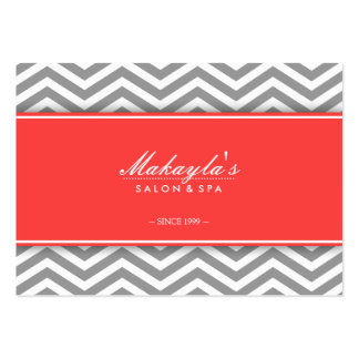 Elegant Chevron Modern Gray & White with Coral Large Business Cards (Pack Of 100)