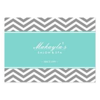 Elegant Chevron Modern Gray & White with Teal blue Large Business Cards (Pack Of 100)