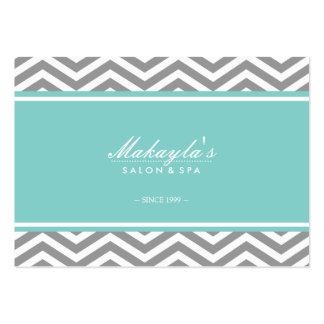 Elegant Chevron Modern Gray & White with tif blue Large Business Cards (Pack Of 100)
