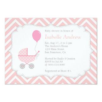 Elegant, Chevron, Pink Pram, Girl Baby Shower 4.5x6.25 Paper Invitation Card