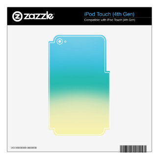 Elegant & Chic Baby Blue Teal Gold Ombre Watercolo Decals For iPod Touch 4G